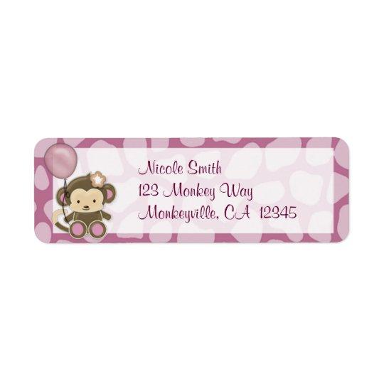 Monkey Baby Shower Return Address Label ORCHID