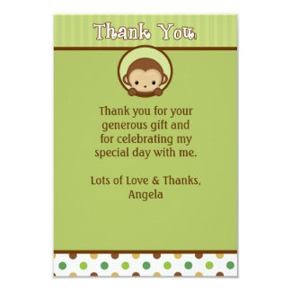 Monkey Baby Shower Thank You MPPv4 Green (FLAT) 9 Cm X 13 Cm Invitation Card