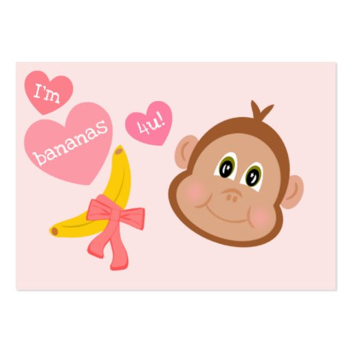 Monkey Bananas 4 You Children's Valentines Cards Business Card Template