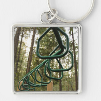 Monkey bars Silver-Colored square key ring