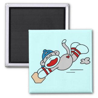 Monkey Baseball Diving into Base Tshirts and Gifts Magnet