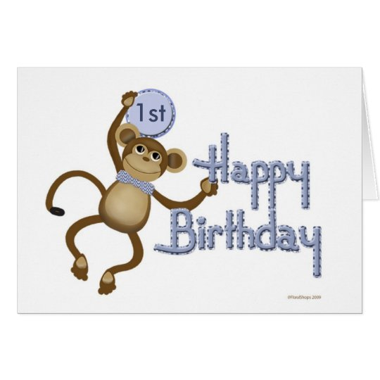 Monkey Birthday Age Template Card