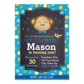 Monkey Birthday Invitation (blue)