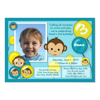 Monkey birthday invitation blue yellow (photo)