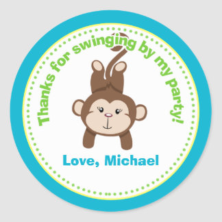 Monkey Birthday Party Favor Stickers