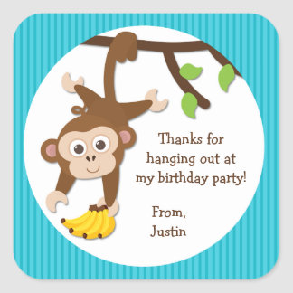 Monkey Birthday Party Thank You Stickers