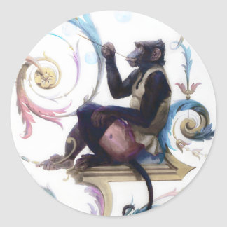 Monkey Blowing Bubbles Classic Round Sticker