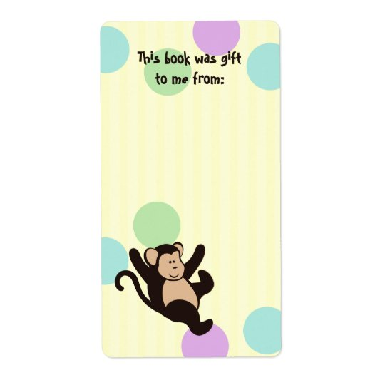 Monkey Book Tags Shipping Label