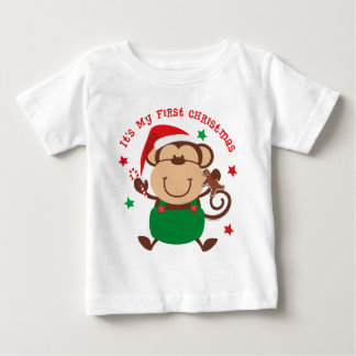 Monkey Boy 1st Christmas Baby T-Shirt