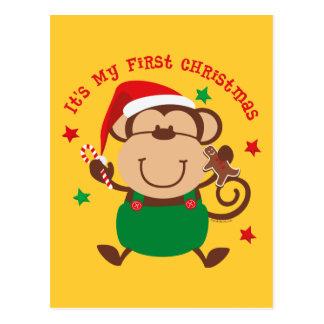 Monkey Boy 1st Christmas Postcards