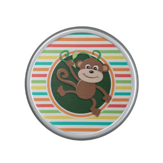 Monkey; Bright Rainbow Stripes Bluetooth Speaker