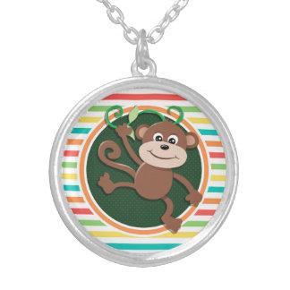Monkey Bright Rainbow Stripes Custom Jewelry