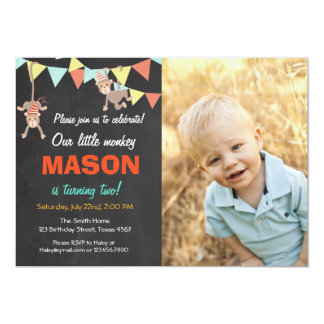Monkey Bunting Birthday Party Invitation