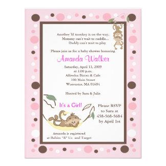 Monkey Business 4x5 Pink Dot Baby Shower Invite