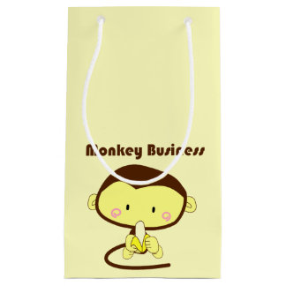 Monkey Business Brown and Yellow Chimp Cartoon Small Gift Bag