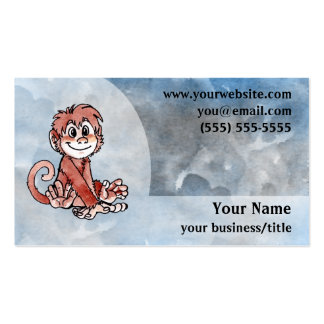 Monkey Business Card - Blue and Gray