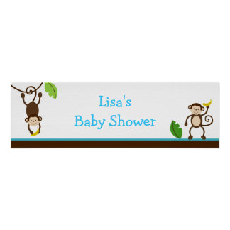 Monkey Business Jungle Birthday Banner Sign Print