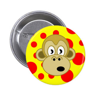 Monkey Button- Yellow and Red Polka Dot Background 6 Cm Round Badge