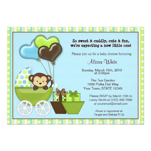 Monkey Carriage Baby Shower Invitation BLUE GREEN