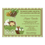 Monkey Carriage v1 Green Baby Shower Invitations