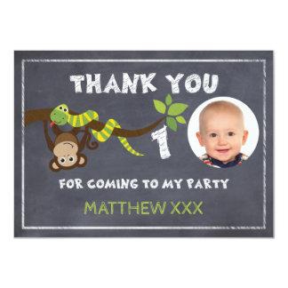 Monkey Chalkboard 1st Birthday Thank You Card 11 Cm X 16 Cm Invitation Card
