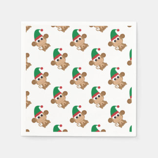 Monkey Christmas Elf Paper Napkins
