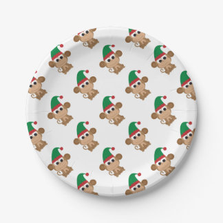 Monkey Christmas Elf Paper Plate