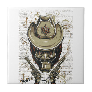 monkey cowboy skull with twin guns ceramic tile
