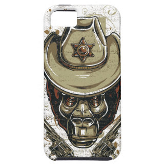 monkey cowboy skull with twin guns iPhone 5 case