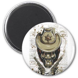 monkey cowboy skull with twin guns magnet