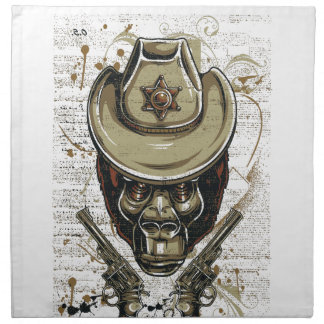 monkey cowboy skull with twin guns napkin