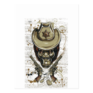monkey cowboy skull with twin guns postcard