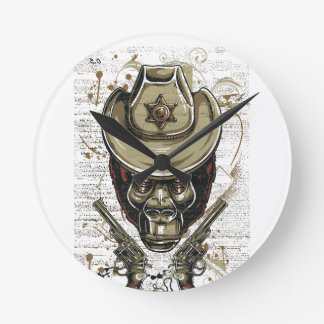 monkey cowboy skull with twin guns round clock