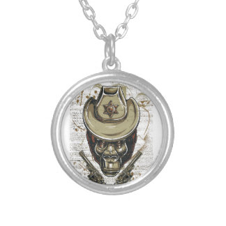 monkey cowboy skull with twin guns silver plated necklace