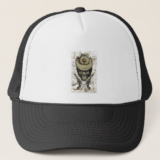 monkey cowboy skull with twin guns trucker hat