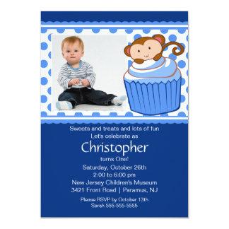 Monkey Cupcake Photo Birthday Invitation