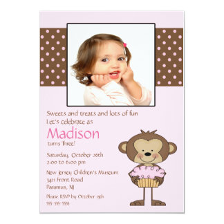 "Monkey Cupcake Photo Birthday Invitation 5"" X 7"" Invitation Card"