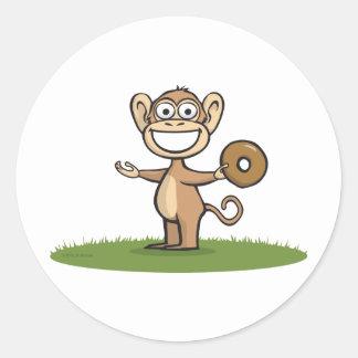 Monkey Donuts Classic Round Sticker