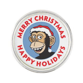 Monkey Elf Christmas Greeting Lapel Pin