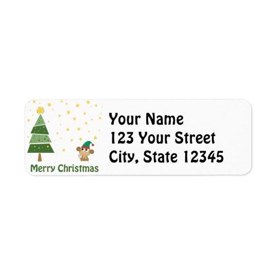 Monkey Elf Christmas Scene Return Address Label