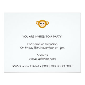 Monkey Face 11 Cm X 14 Cm Invitation Card