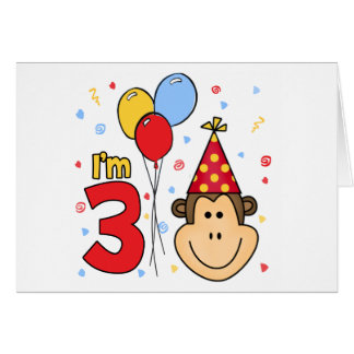 Monkey Face 3rd Birthday Invitations