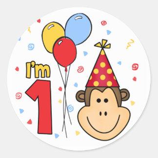 Monkey Face First Birthday Round Sticker