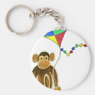 Monkey Flying Kite Key Ring