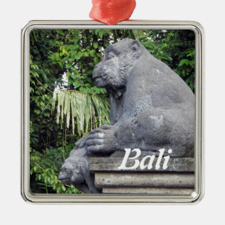 Monkey Forest Gate Silver-Colored Square Decoration