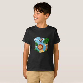 Monkey, Giraffe and Lemon Zoo Animals T-Shirt