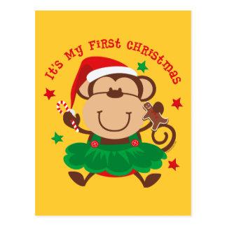 Monkey Girl 1st Christmas Postcard
