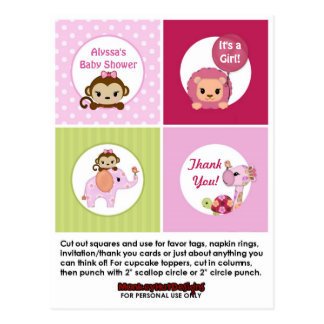 MONKEY Girl Baby Shower Cupcake Topper SweetSafari Postcard