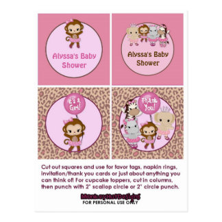 MONKEY Girl Baby Shower Cupcake Topper Tu Tu Cute Postcard