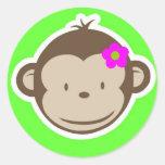 Monkey-girl-green Round Sticker